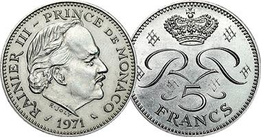 Coin Value: Monaco 5 Francs 1971 to 1995
