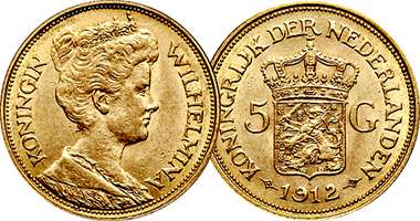 Netherlands 5 and 10 Gulden (Fakes are possible) 1911 to 1917