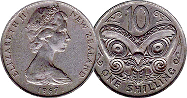 New Zealand 10 Cents One Shilling 1967 To Date