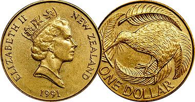 Coin Value: New Zealand 1 Dollar (Kiwi Bird) 1990 to Date