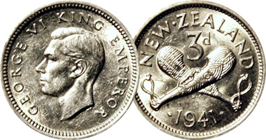 New Zealand 3 Pence 1933 To 1965