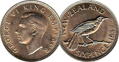 New Zealand 6 Pence 1933 To 1965