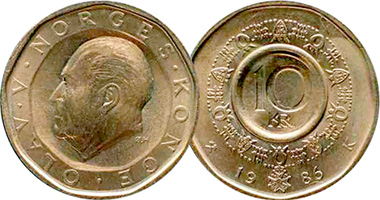 Norway 10 Kroner 1983 To 1991