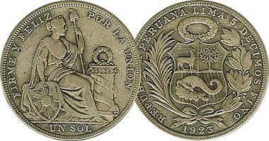 Coin Value Peru 1 Sol 1923 To 1935