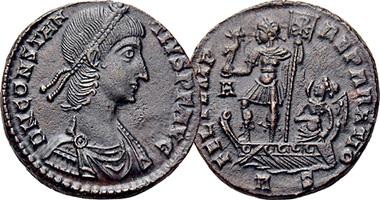 Coin Value: Ancient Rome Fel Temp Reparatio Emperor on Galley 342AD