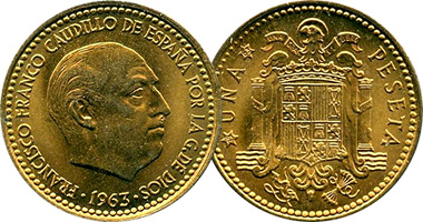 Coin Value: Spain 1, 2 50, and 5 Pesetas 1946 to 1975