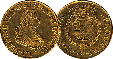 Coin Value: Spain 1/2, 1, 2, 4, and 8 Escudos (Fernando VI