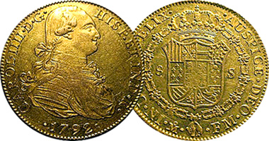 Coin Value: Spain Fake Colonial 8 Escudos (Counterfeit) 1792