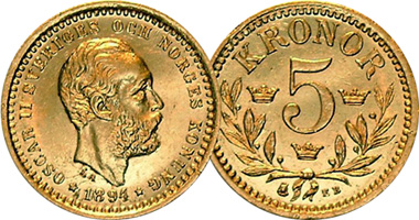 Sweden 5 Kronor 1881 To 1901