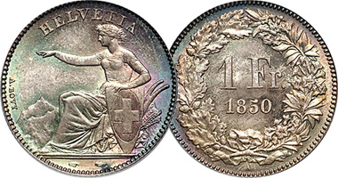 Switzerland 1 2 And 5 Francs 1850 To 1874