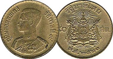 Thailand 5 10 25 And 50 Satang 1 Baht 1957
