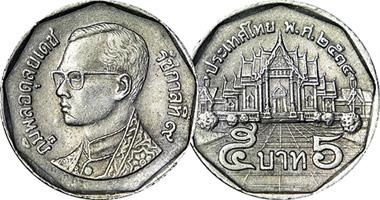 Coin Value Thailand 5 Baht 1988 To 2008