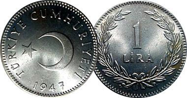 Turkey 5 10 25 50 Kurus And 1 Lira 1947 To 1957