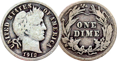 Coin Value Us Barber Dime 1892 To 1916
