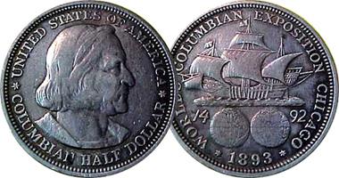 1893 Columbian Exposition Silver Half Dollar XF