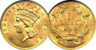 Us One Dollar Gold Indian Princess Fakes Are Possible 1854 To 1889