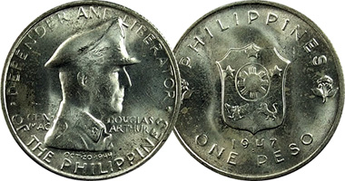 Coin Value Philippines 1 Peso 1947