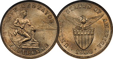 Philippines 5 Centavos 1903 To 1935