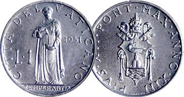Vatican City 1 Lira 1951 To 1958