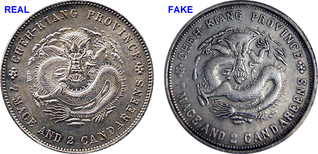 Coin Value China Chekiang Cheh Kiang Province 20 Cents 50 Cents Dollar Fakes Are Possible