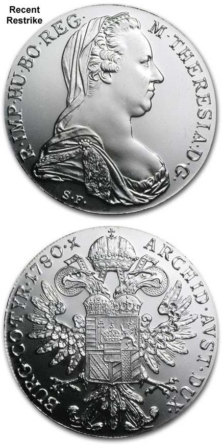 BEAUTIFUL UNCIRCULATED EXAMPLE -SF Maria Theresa Thaler Silver Restrike 1780