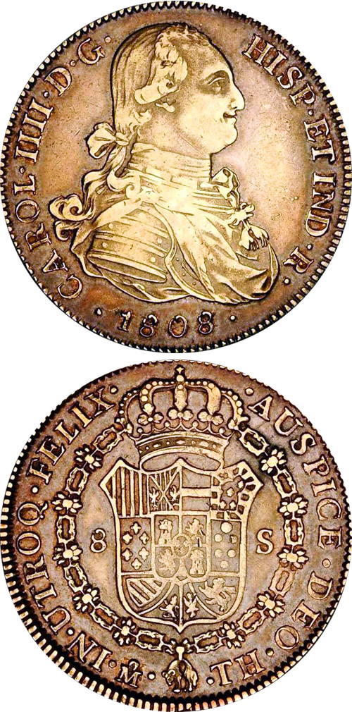 Coin Value: Spain Spanish Colonial 1/2, 1, 2, 4, and 8