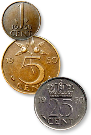 Coin Value: Netherlands 1, 5, 10, and 25 Cents 1950 to 1980