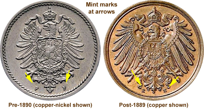 Coin Value: Germany 1, 2, 5 and 10 Pfennig (Copper-Nickel